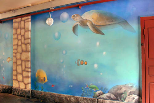 Street Murals by Yulia Avgustinovich seen at Saint Petersburg, Saint Petersburg - Mural in an Archway «Aquarium»
