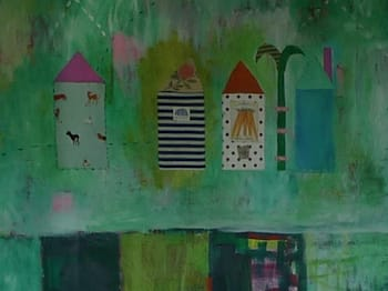 Paintings by Pam (Pamela) Smilow seen at Berkeley, CA, Berkeley - Green Landscape with Houses
