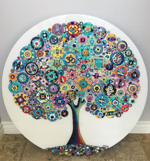 Art & Wall Decor by Cami Levin seen at Private Residence, Orlando - Custom Round Tree of Love