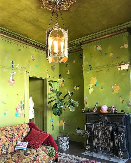 Wall Treatments by Caroline Lizarraga seen at Private Residence, San Francisco - Green Victorian Style Wall Treatment