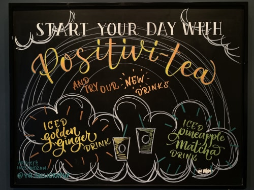 Murals by YQ Design seen at Starbucks, Queens - Positivi-tea