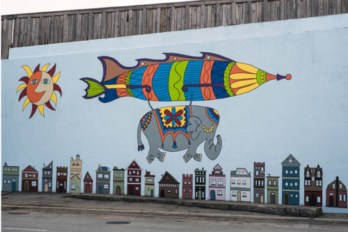 Street Murals by Tony Passero seen at 3931 North Pulaski Road, Chicago, IL, Chicago - Jumbo Jet Mural