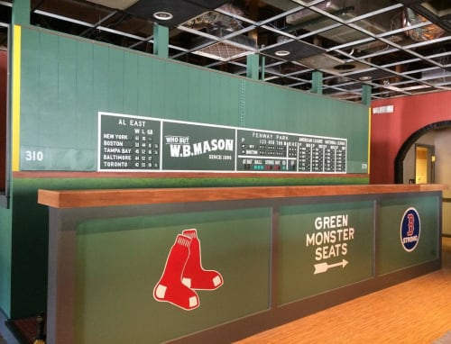 Murals by M-C Lamarre seen at Home Plate, Norton - Green Monster Mural