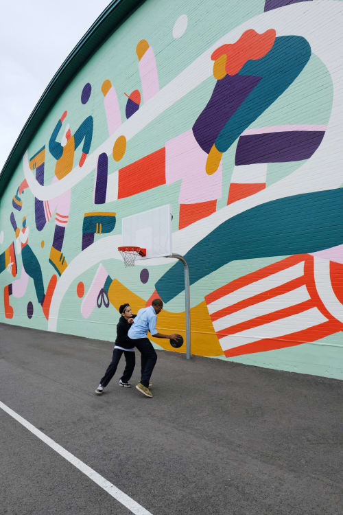 Murals by Cecile Gariepy seen at Town Of Mount Royal Curling Club, Mont-Royal - Sportifs