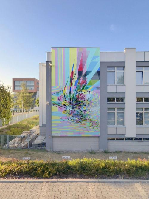 Murals by Proembrion seen at Prez. Gabriela Narutowicz 136, Łódź - Hexuberances