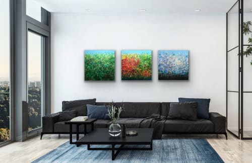 "Paintings by Kristen Pobatschnig seen at Private Residence, Boston - Series of 3 paintings, ""Sounds of Nature"" created for the Upper Sacco Valley Land Trust"