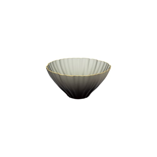"""Tableware by SGHR Sugahara seen at Creator's Studio, Chiba - KIKKA Handcrafted Glass Bowl with Gold Rim - Carbon 3.9"""""""