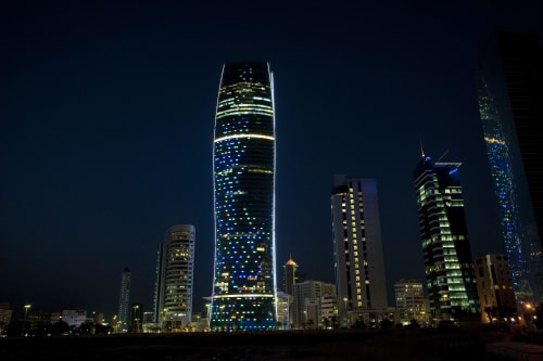 Lighting by KSLD | EFLA Lighting Design seen at KIPCO Tower, Kuwait City - Identity Lighting Scheme