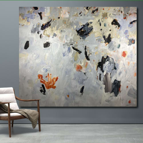 """Paintings by Jane Burton, Abstract Painting seen at San Francisco, San Francisco - """"Winter's Rust""""  67"""" x 76""""  - Large neutral abstract"""