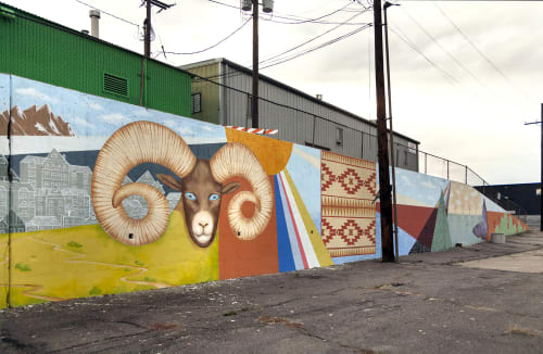 "Murals by Yulia Avgustinovich seen at West Alameda Avenue, Denver - Wall Mural ""Viva Colorado"""