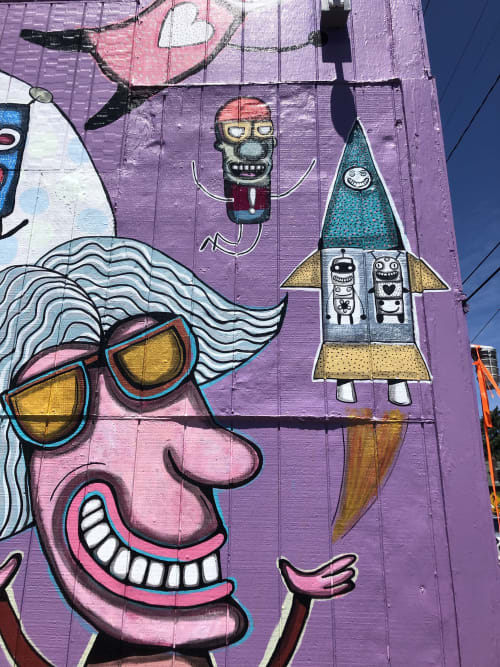 Murals by Gary Hirsch (botjoy) seen at Sellwood, Portland - What's Your Happy? Mural