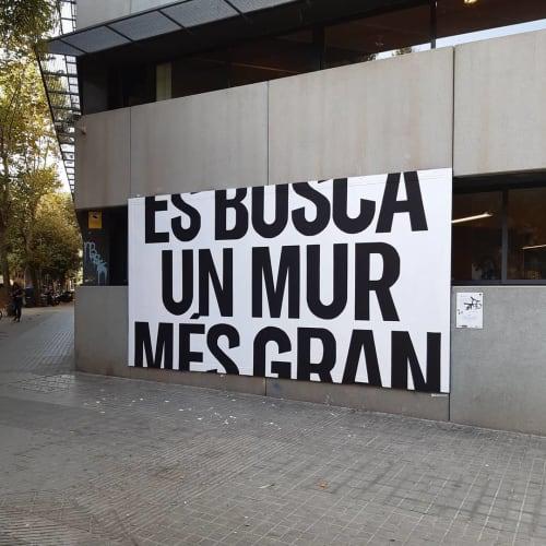 """Street Murals by Octavi Serra seen at Centre Cívic Cotxeres de Sants, Barcelona - """"Looking for a bigger wall"""""""
