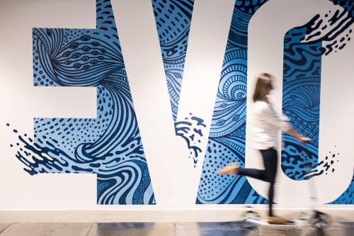 Murals by Refinery 43 seen at John Hancock Tower Boston, Boston - Evolve