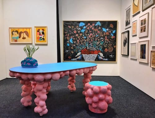 Tables by CHIAOZZA seen at Pier 36 New York, New York - Bonkers Paper Pulp Table and Stools