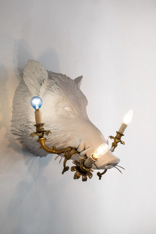Lighting by MARCANTONIO seen at Rossana Orlandi, Milano - What a Boar! (Boar with lamp)