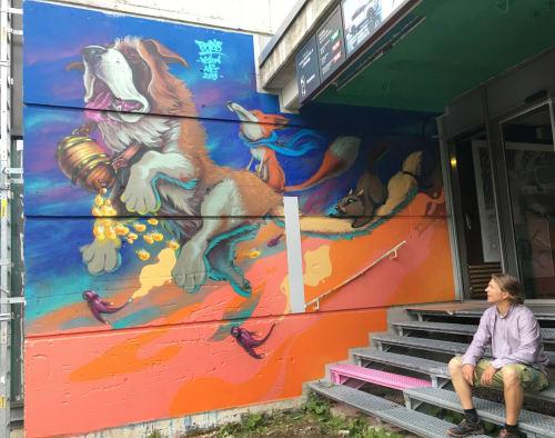 Murals by Robis21 seen at Crans-Montana, Crans-Montana - Vision Art Festival