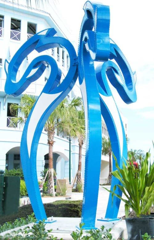 Public Sculptures by Gus Lina Fine Art seen at 200 US-1, Jupiter - Dolphins Game