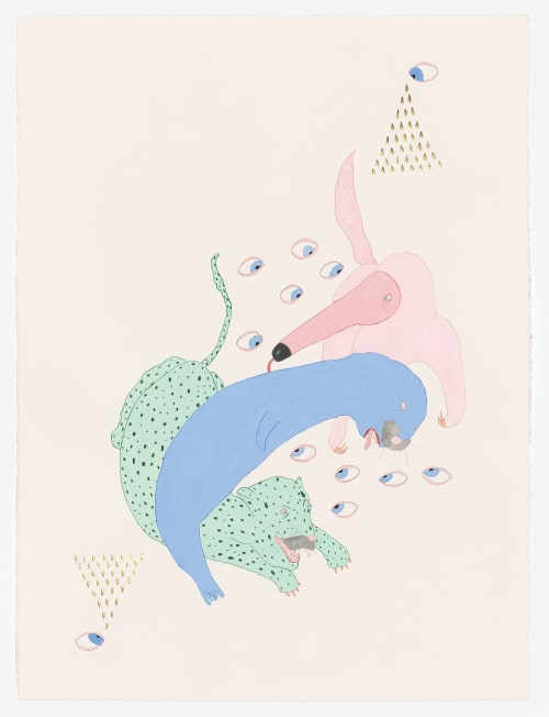 Paintings by Pip Ryan seen at Private Residence, Melbourne - Ant Eater Lick, watercolour, gouache, 22kt gold leaf, pencil on paper