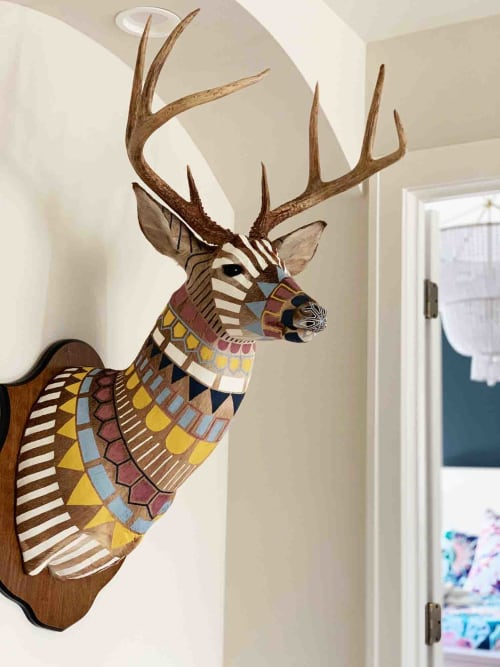 Sculptures by Cassandra Smith seen at Private Residence, Edina - Hand-Painted Taxidermy Deer