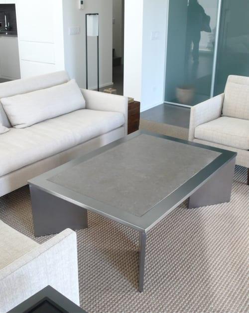 Tables by Kramer Design Studio / Randall Kramer seen at Private Residence, Chicago - SLAB-LEG TABLE w/Stone Top , inset