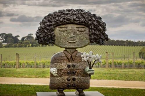 Sculptures by Dean Bowen seen at Pt Leo Estate Sculpture Park, Merricks - Lady with Flowers