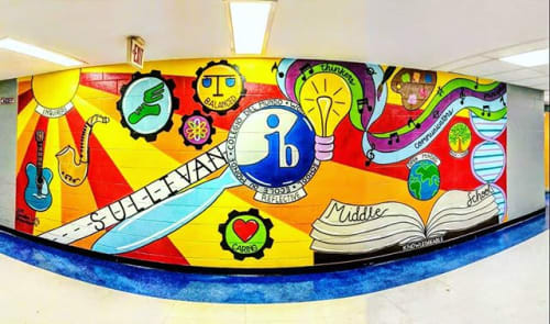 Murals by Phunky Artz seen at Sullivan Middle School, Rock Hill - Rockhill Mural at Sullivan Middle School