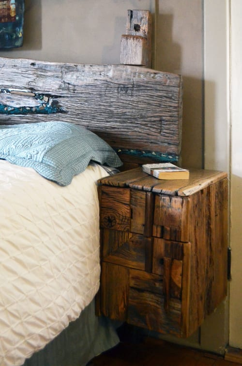 Beds & Accessories by Abodeacious seen at Private Residence, Evanston - Rustic wood headboard and night stands
