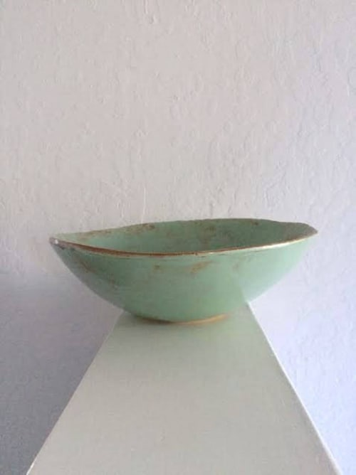 Tableware by Linda Peterson | Mud 'n Biscuits Ceramics seen at Private Residence, Roanoke - Turquoise Salad/Serving Bowl