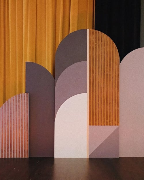 Murals by Tiffany Lusteg (Kindred + Copper) seen at Prado, San Diego - Stage Backdrop
