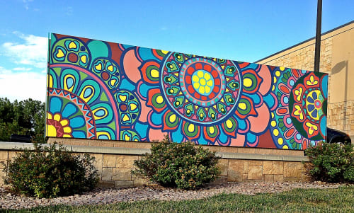 Street Murals by Christine Rose Curry seen at Pioneer Hills, Aurora - Parker Road Mural (north) at Pioneer Hills Shopping Center