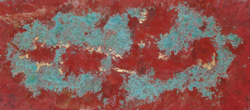 Paintings by Paul Seftel seen at Private Residence, New York - Sensuousness. Coral red and turquoise blue painting in a silver hallway