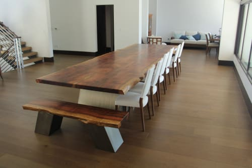 Tables by Eternal Timber and Design seen at Private Residence, Hermosa Beach - Live Edge Sequioa Dining Table