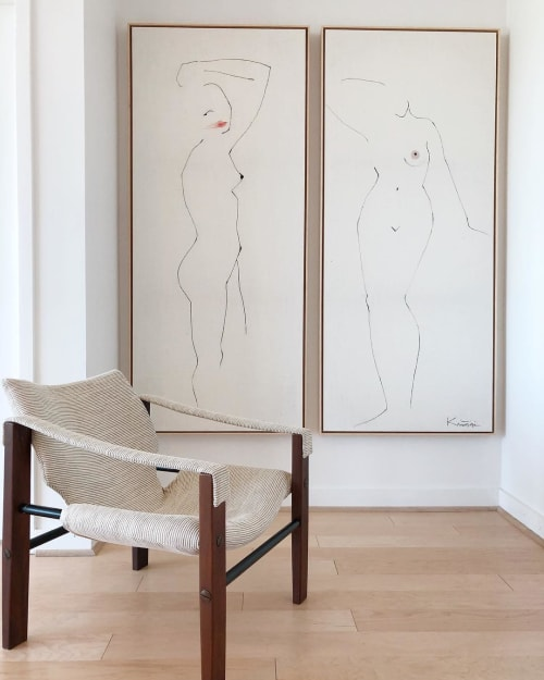 Female figures on canvas