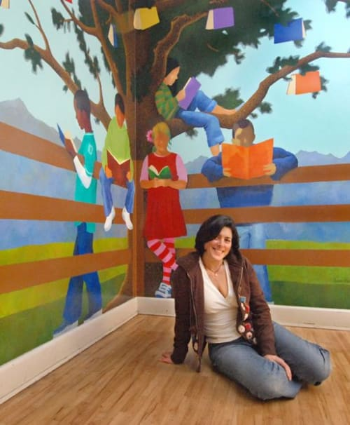 Murals by Susan Melrath seen at Carnation, Carnation - Carnation Elementary School Reading Corner