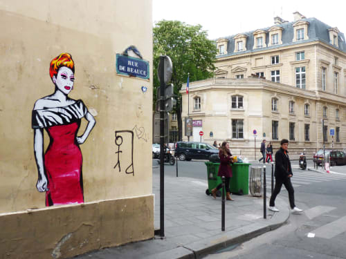 Street Murals by Suriani Art seen at 3rd Arrondissement, Paris, France, Paris - Bianca del Rio