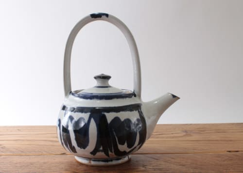 Tableware by Robyn Cove Pottery seen at Private Residence, Cardiff - Painted teapot in blue and white