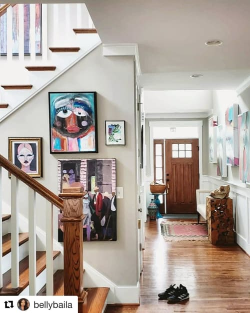 Paintings by Kathi Graves Art seen at Private Residence, Charlotte - Abstract face