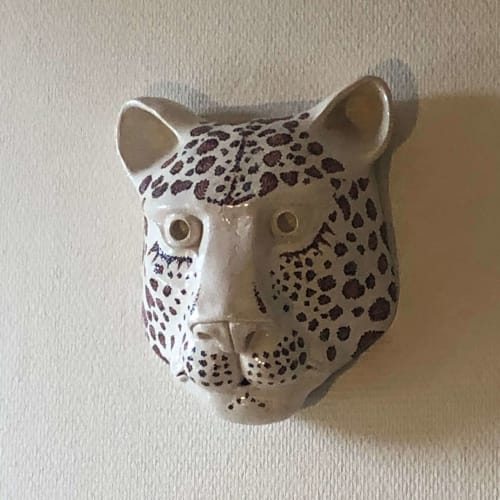 Murals by WollaA Ceramics seen at Private Residence, Verfeil - Ceramic leopard head