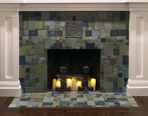 Tiles by Pasadena Craftsman Tile seen at Private Residence, Tampa, FL, Tampa - Rehm Fireplace