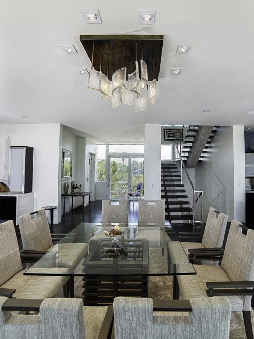 Chandeliers by Gathered Glassblowing Studio seen at Private Residence, Longboat Key - Cast Waves