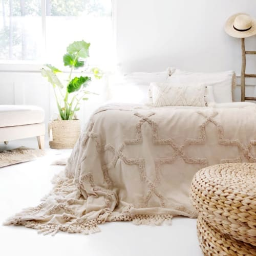 Linens & Bedding by Coastal Boho Studio seen at Destin, Destin - Sandy Handwoven Bedspread Set - Natural