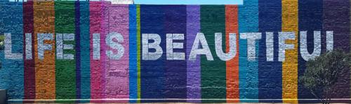 Street Murals by Ruben Rojas seen at 4617 W Washington Blvd, Los Angeles - Life Is Beautiful