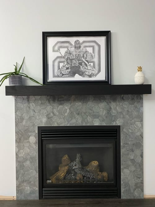 Fireplaces by Cask Woodworking seen at Private Residence, Sherwood Park - Black Oak Mantle