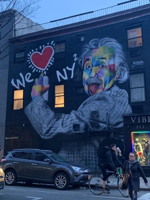 "Street Murals by Eduardo Kobra seen at Vibe 212, New York - ""We Love NY"" Einstein"