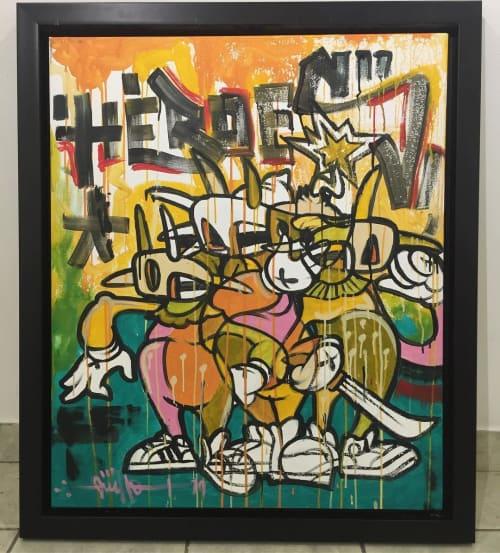 Paintings by Kroniko Arte seen at Café Betances 100 Sur, Mayagüez - Héroes