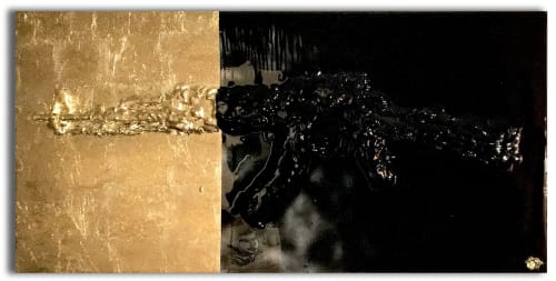 Paintings by Nickhartist seen at Private Residence, Dallas - Gold Gun