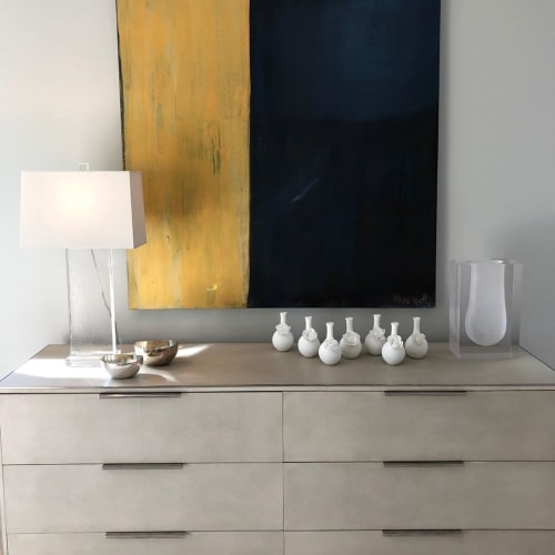 Paintings by Kari Kroll seen at The Berkshires, Sandisfield - Midnight Blue and Gold Painting