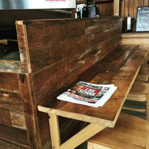 "Tables by MP Custom Made seen at Bridgeport, Bridgeport - ""Reclaimed Pine service pass and bench table"""