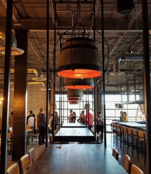 Interior Design by ArtMix Productions + Design seen at 1000 Whitehall St SW, Atlanta - BOX CAR/HOP CITY BREWERY