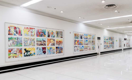 Paintings by Jody Zellen seen at Terminal 3 Arrivals, Los Angeles - Above the Fold
